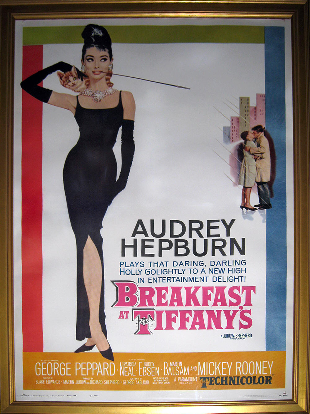 audrey hepburn rare poster breakfast at tiffany 39 s 1961. Black Bedroom Furniture Sets. Home Design Ideas
