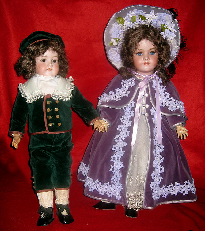 Porcelain Boy & Girl German Dolls