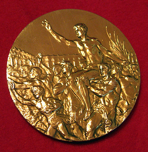 The back of the 1928 Amsterdam Olympic medal.