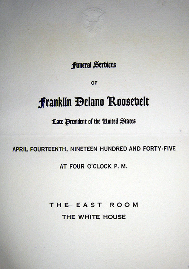Invitation to Funeral of President Roosevelt