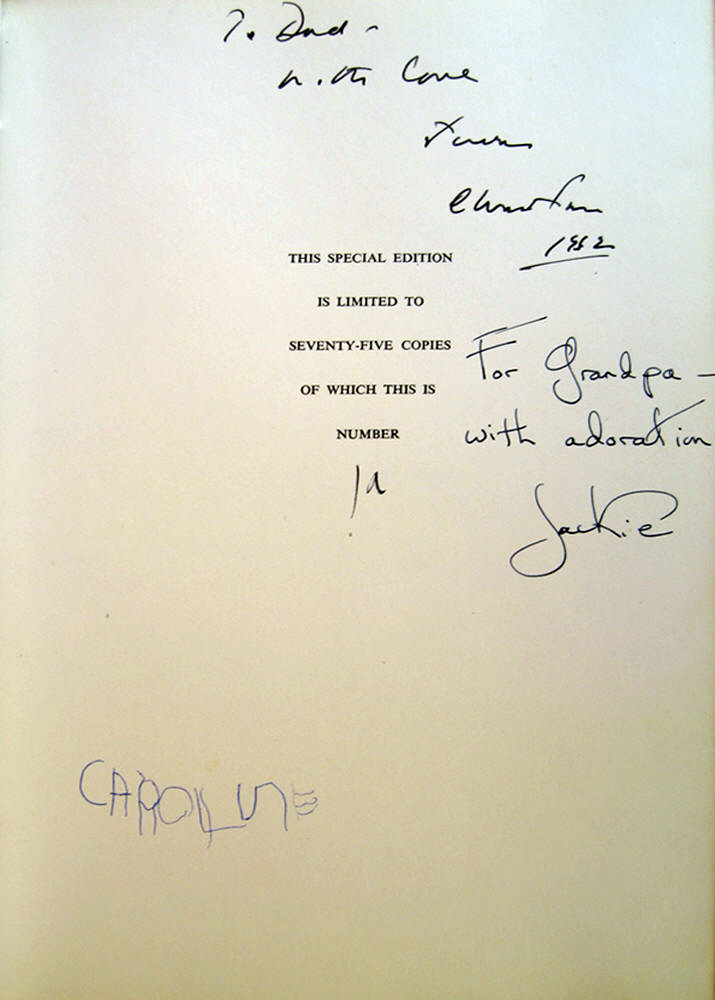 White House Book from Jackie to Joseph Kennedy