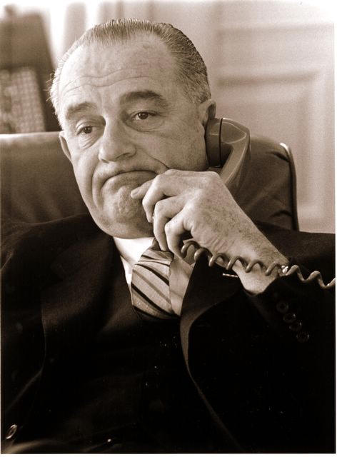 Lyndon B. Johnson in Oval Office