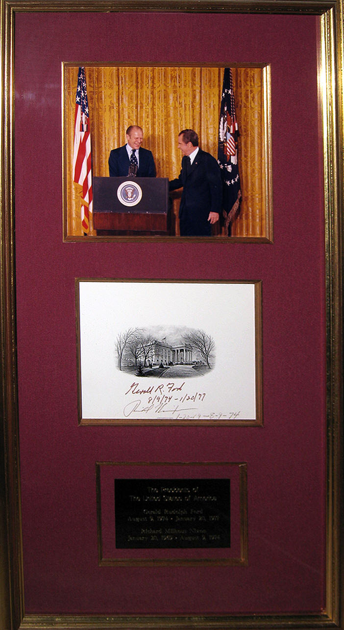 Signed White House Vignette Richard Nixon & Gerald Ford
