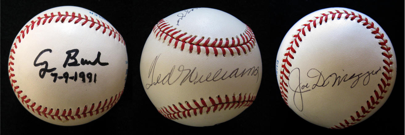 Baseball Signed By George Bush, Ted Williams & Joe Dimaggio