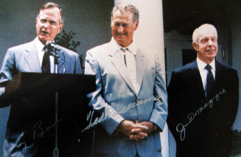President Bush at the White House with Ted Williams & Joe Dimaggio