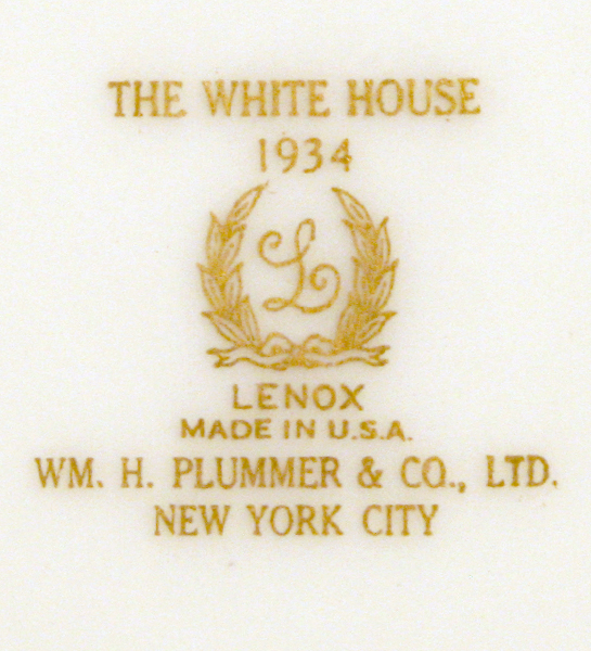 Lenox 1934 Official White House China