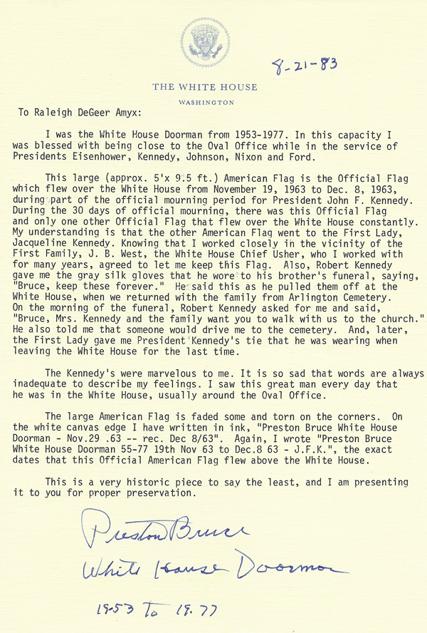 White House Letter from Preston Bruce